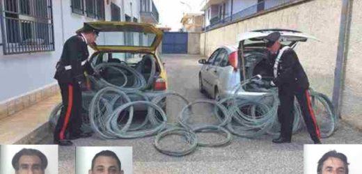 Scoperti in contrada Alfano a rubare cavi elettrici, arrestati dai Carabinieri tre siracusani