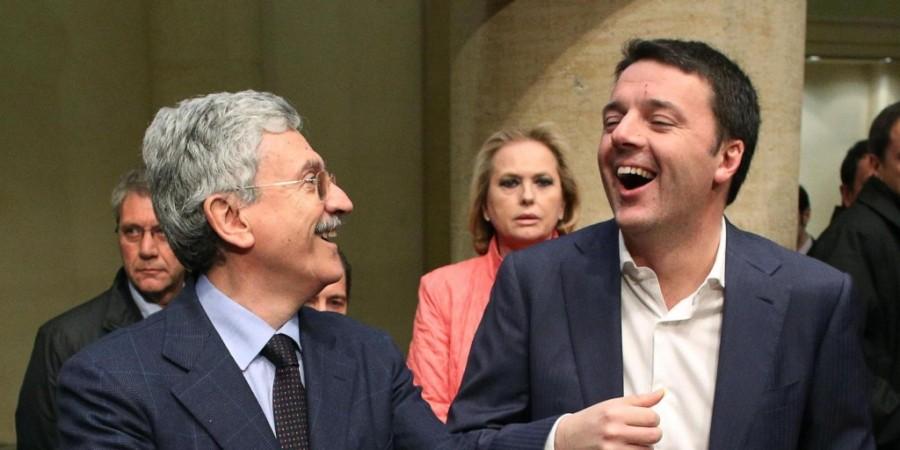 Massimo D'Alema con Matteo Renzi