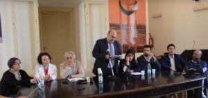 Garozzo e la giunta alla conferenza stampa