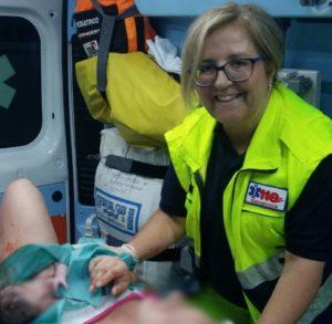 La dott.ssa Luisa Lanza subito dopo il parto