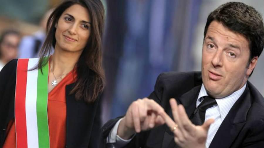 Virginia Raggi e Matteo Renzi