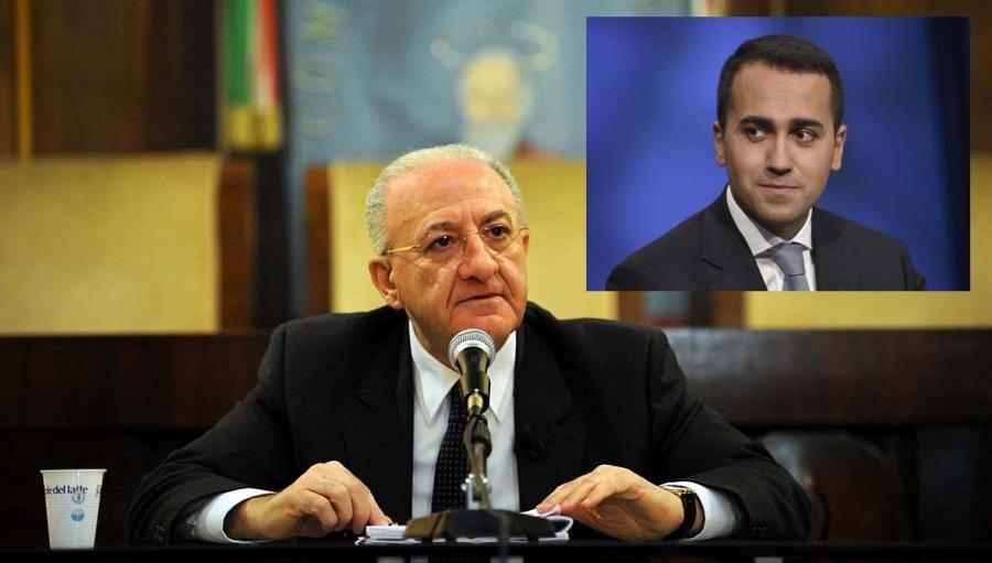Il governatore della Campania, Vincenzo De Luca (Pd), nel riquadro il vice presidente della Camera, Luigi Di Maio (M5S)