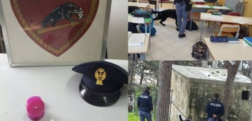Controlli antidroga della Polizia negli istituti scolastici superiori di Siracusa, rinvenuti involucri con modiche quantità