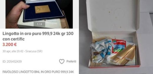 Avolese tenta di truffare un veneto vendendogli un lingotto d'oro per 5 mila euro ma spedendogli dei comuni  biscotti