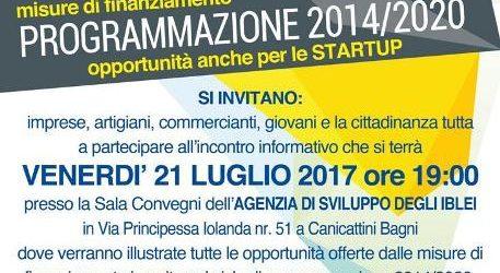 I settori e i finanziamenti della Programmazione 2014-2020 per le imprese e per le startup  illustrate venerdì 21 a Canicattini